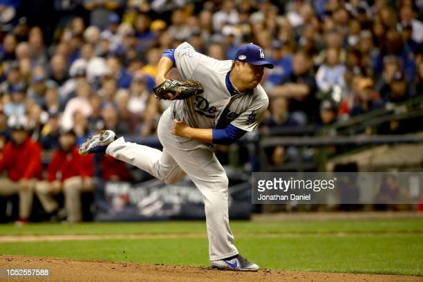 HyunJin Ryu of the Los Angeles Dodgers throws a pitch against the Milwaukee Brewers during the first inning in Game Six of the National League...