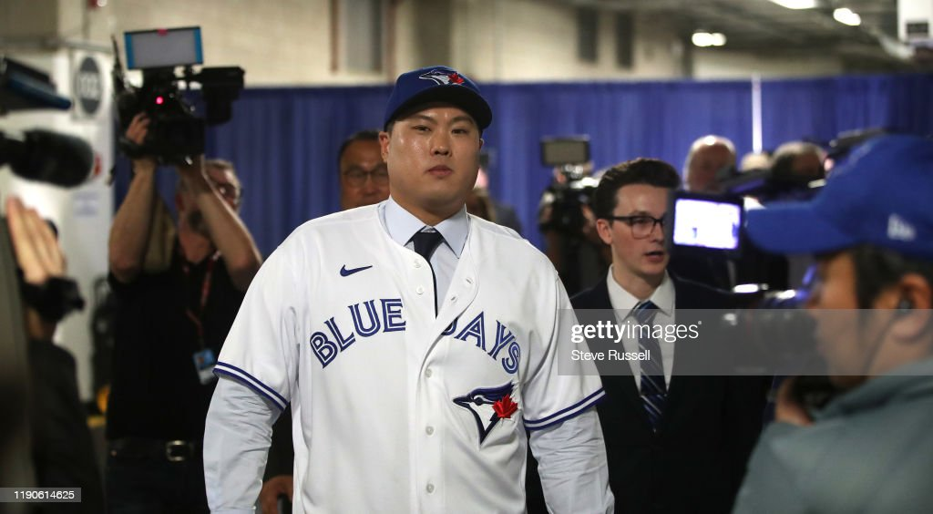 The Toronto Blue Jays host a media availability with new signed free agent left handed pitcher Hyun-Jin Ryu : News Photo