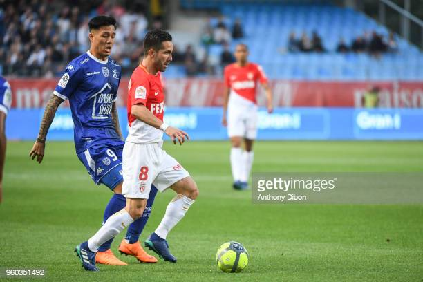 Hyunjun Suk of Troyes and Joao Moutinho of Monaco during the Ligue 1 match between Troyes AC and AS Monaco at Stade de l'Aube on May 19 2018 in Troyes