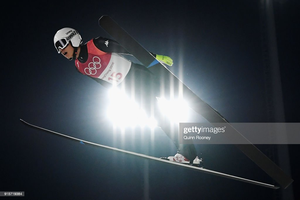 Hyunki Kim of Korea jumps during Men's Normal Hill Individual Trial Round for Qualification at Alpensia Ski Jumping Centre on February 8, 2018 in Pyeongchang-gun, South Korea.