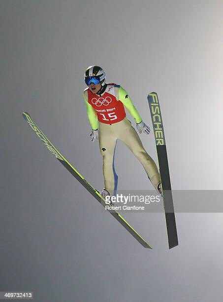 HyunKi Kim of South Korea jumps during the Ski Jumping Men's Large Hill Official Training on day 9 of the Sochi 2014 Winter Olympics at RusSki Gorki...