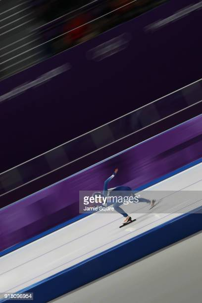 HyunYung Kim of South Korea competes during the Ladies' 1000m Speed Skating on day five of the PyeongChang 2018 Winter Olympics at Gangneung Oval on...