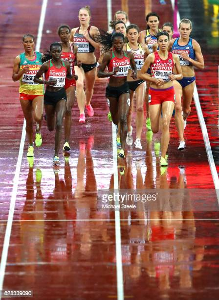Hyvin Kiyeng Jepkemoi of Kenya and Purity Cherotich Kirui of Kenya compete in the Women's 3000 metres Steeplechase heats during day six of the 16th...