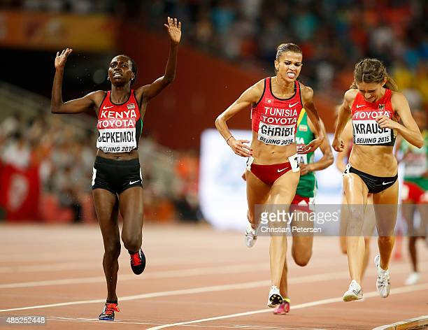 Hyvin Kiyeng Jepkemoi of Kenya crosses the finish line to win gold in the Women's 3000 metres steeplechase final during day five of the 15th IAAF...