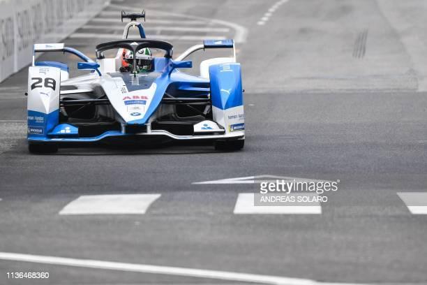 I Andretti Motorsport's Portuguese driver Antonio Felix da Costa steers his car during the shakedown of the Rome E-Prix leg of the Formula E season...