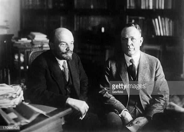 V i lenin with parley christensen 1920 usa presidential candidate representing the farmer labor party meeting in his study in moscow november of 1921