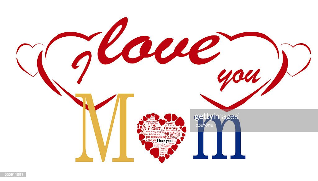 i love you Mom,  Mothers day card : Stock Photo
