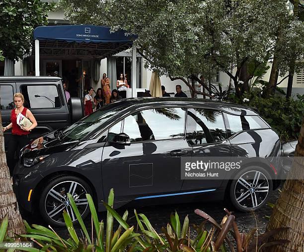 BMW i3 concierge shuttle at Soho Beach House during Art Basel Miami on December 4 2015 in Miami Beach Florida