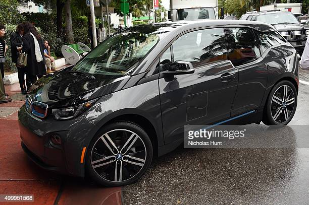 BMW i3 concierge shuttle at Soho Beach House during Art Basel Miami on December 4 2015 in Miami Beach Florida