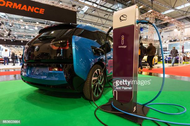 BMW i3 connected to a charging station at the Essen Motor Show on December 1 2017 in Essen Germany The state government of North RheinWestphalia...