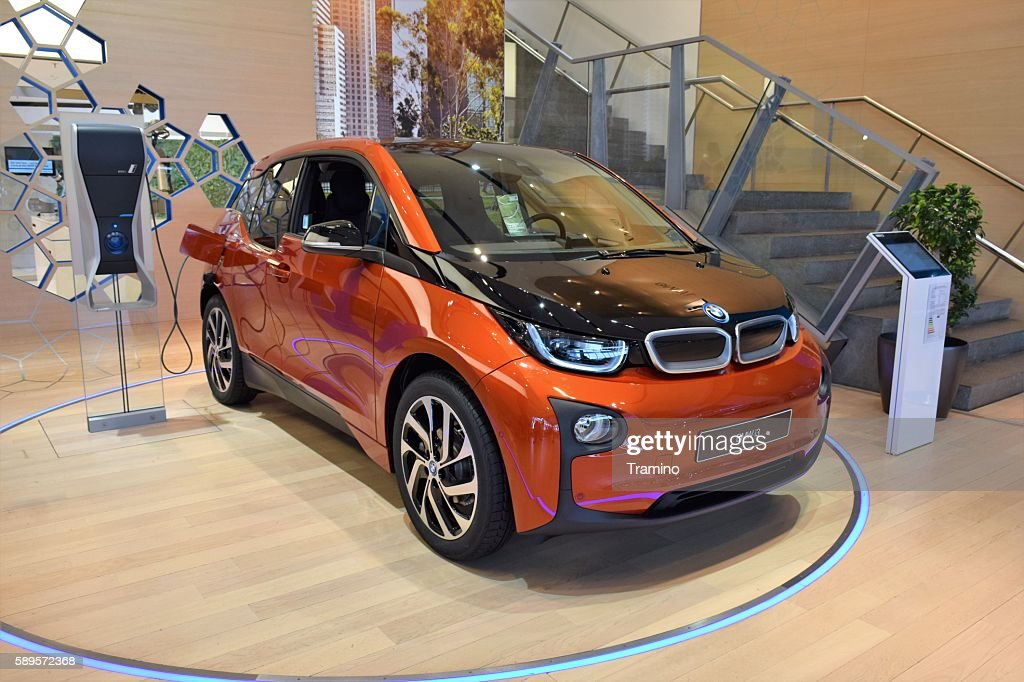 BMW i3 in the showroom : Stock Photo