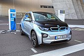 BMW i3 on the electric charging point