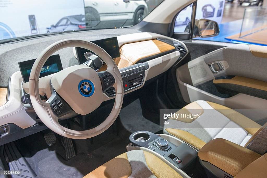 bmw i3 urban electric car interior stock photo getty images. Black Bedroom Furniture Sets. Home Design Ideas