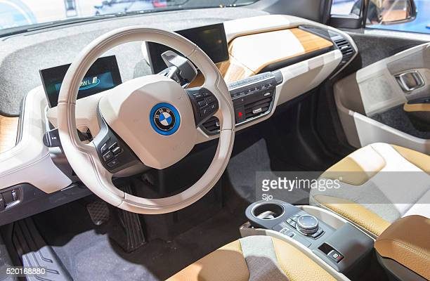 bmw i3 urban electric car interior - bmw stock pictures, royalty-free photos & images