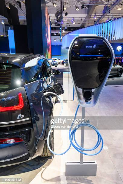 I3s all electric compact hatchback car on display at Brussels Expo on January 9, 2020 in Brussels, Belgium The BMW i3 is fitted with an electric...