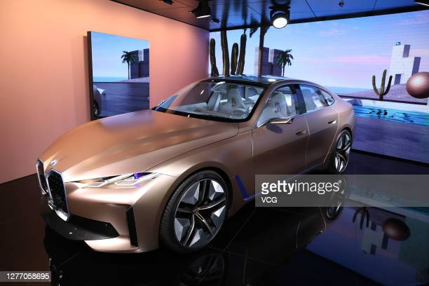 I4 electric car is on display during 2020 Beijing International Automotive Exhibition at China International Exhibition Center on September 27, 2020...