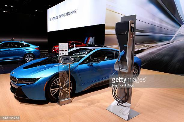 BMW i8 and charging station is on display at the 108th Annual Chicago Auto Show at McCormick Place in Chicago Illinois on February 19 2016