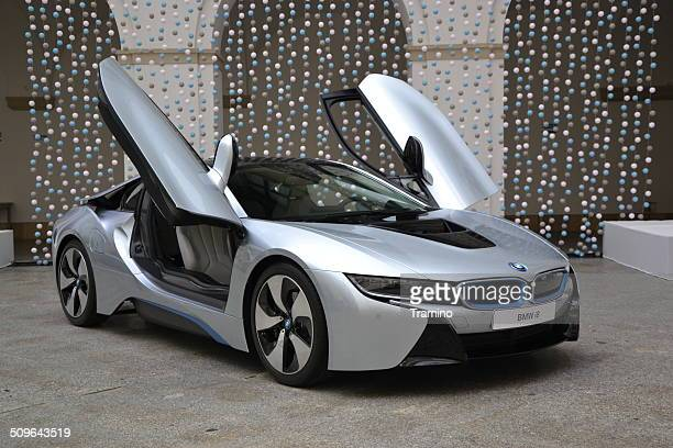 bmw i8 at the press launch - bmw i8 stock photos and pictures