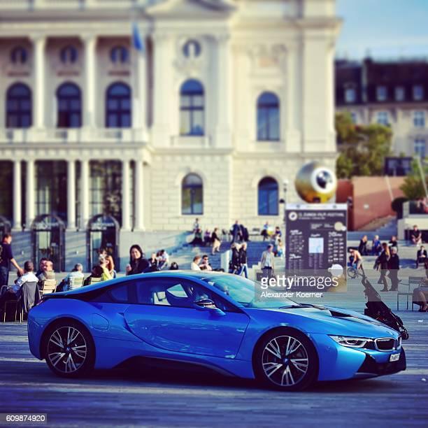 A BMW i8 drives on the Sechselaeutenplatz place during the 12th Zurich Film Festival on September 22 2016 in Zurich Switzerland The Zurich Film...