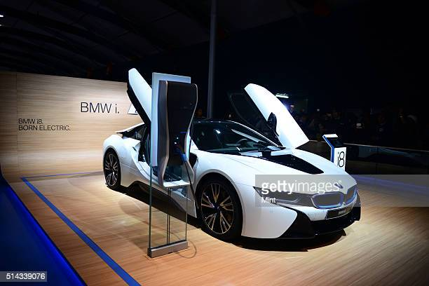 BMW i8 electric car in display at Auto Expo show on the first day on February 5 2014 in Greater Noida India