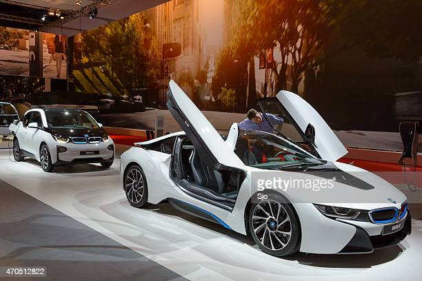 bmw i8 hybrid sports car and bmw i3 electric car - bmw i8 stock photos and pictures