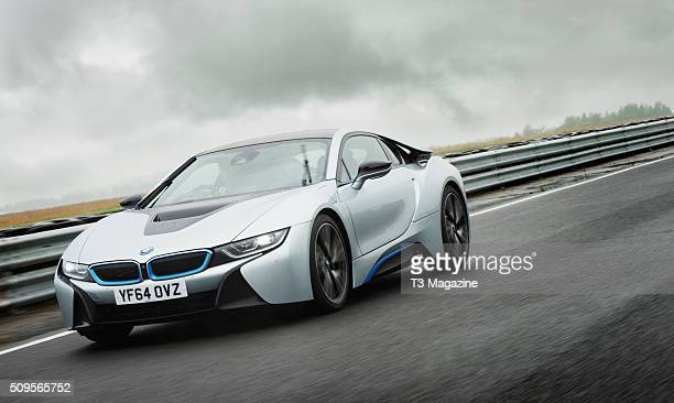 A BMW i8 hybrid sports car being testdriven at Bedford Autodrome Circuit in Bedfordshire taken on July 13 2015