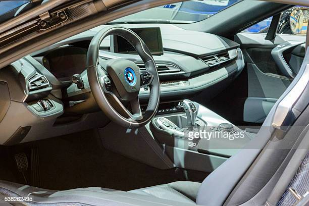 bww i8 hybrid sports car interior - bmw i8 stock photos and pictures