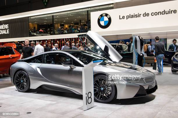 BMW i8 is displayed at the 88th Geneva International Motor Show on March 7 2018 in Geneva Switzerland Global automakers are converging on the show as...