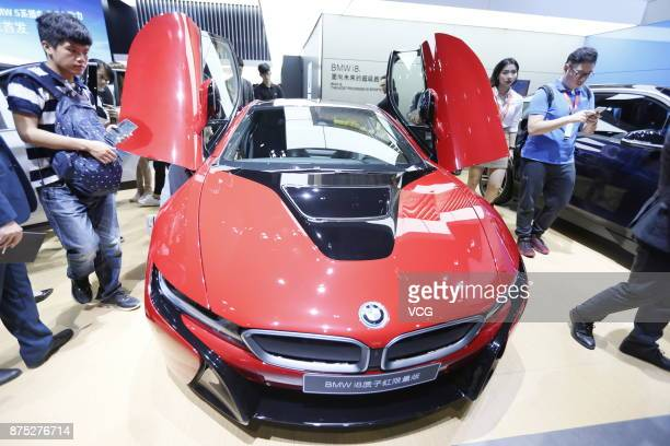 BMW i8 is on display during the 15th Guangzhou International Automobile Exhibition at the China Import and Export Fair Complex on November 17 2017 in...