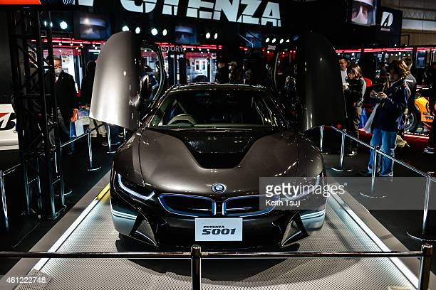 BMW i8 is seen on display at the Tokyo Auto Salon 2015 at Makuhari Messe on January 9 2015 in Chiba Japan