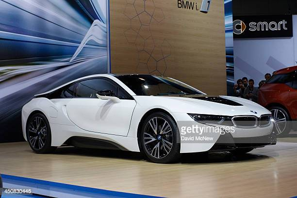 BMW i8 is shown during media preview days at the 2013 Los Angeles Auto Show on November 20 2013 in Los Angeles California The LA Auto Show was...