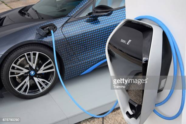 bmw i8 on the electric charging point - bmw i8 stock photos and pictures