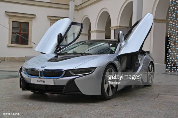 bmw i8 on the exposition - bmw i8 stock photos and pictures