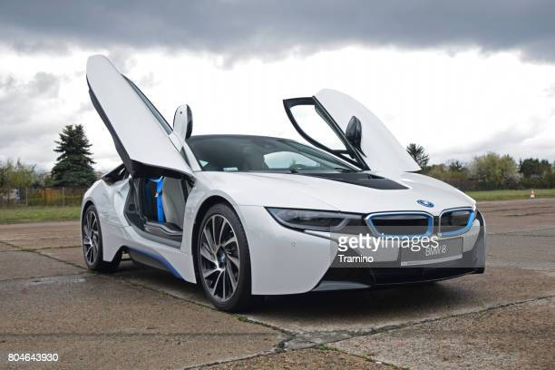 bmw i8 on the parking - bmw i8 stock photos and pictures