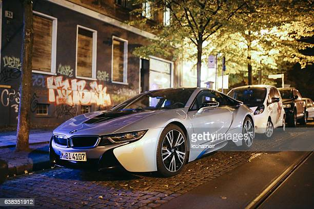 bmw i8 on the streets of berlin - prenzlauer berg - bmw i8 stock photos and pictures