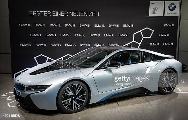 BMW i8 plugin hybrid sports car is displayed during the launch of the BMW i8 at BMW World on June 5 2014 in Munich Germany The BMW i8 is said to be...
