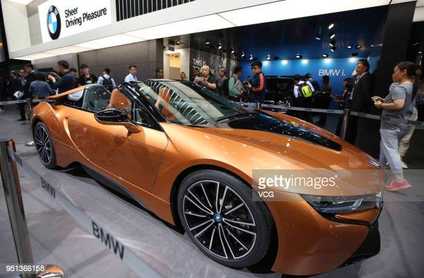BMW i8 Roadster Convertible is on display during the Auto China 2018 at China International Exhibition Center on April 25 2018 in Beijing China Auto...