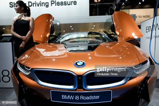 BMW i8 Roadster on display during Auto Expo 2018 motor show at the India Expo Mart on February 7 2018 in Greater Noida India The Expo will include...