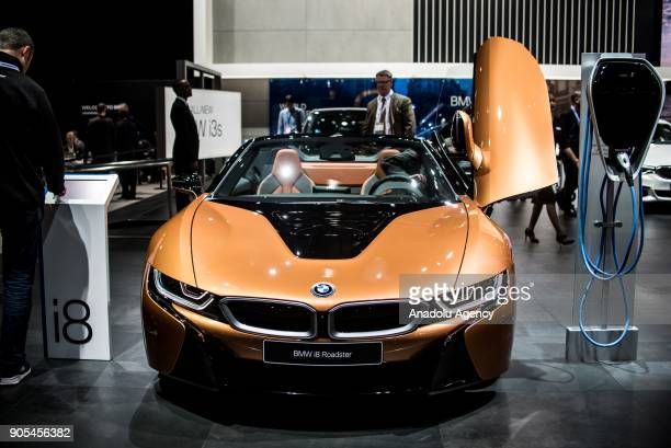BMW i8 Roadsters is on display during North American International Auto Show at Cobo Center in Detroit MI United States on January 15 2018