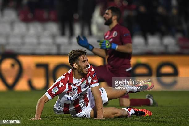 Iacopo Cernigoi of Vicenza Calcio celebrates a goal during the Serie B match between Vicenza Calcio and AS Cittadella at Stadio Romeo Menti on...