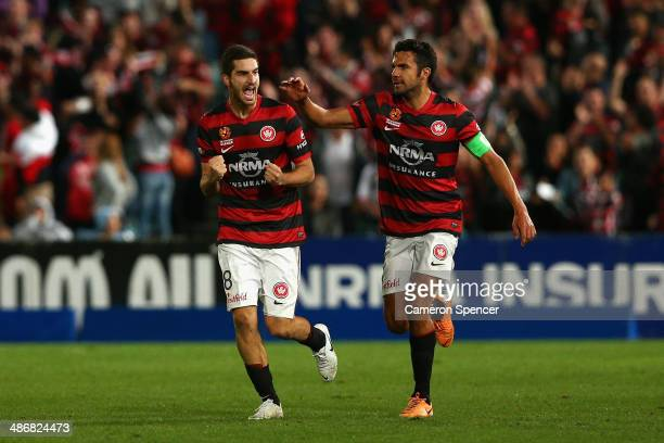 Iacopo La Rocca of the Wanderers celebrates scoring a goal with captain Nikolai ToporStanley during the ALeague Semi Final match between the Western...