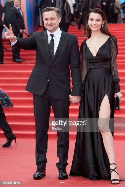 IActor director Artem Mikhalkov and actress Polina Lebedeva attend opening of the 39th Moscow International Film Festival outside the Karo 11 Oktyabr...