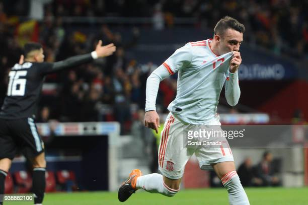 Iago Aspas #17 of Spain celebrates after scoring his team's fifth goal during the international friendly match between Spain and Argentina at Wanda...