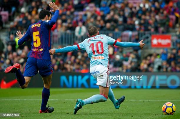 Iago Aspas and Sergio Busquets during the Copa del Rey match between FC Barcelona v Real Murcia CFi n Barcelona on November 29 2017 Photo Joan...