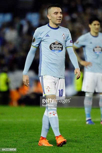 Iago Aspas forward of Celta de Vigo reacts during the UEFA Europa League Round of 16 first leg match between Celta de Vigo and Shakhtar Donetsk at...