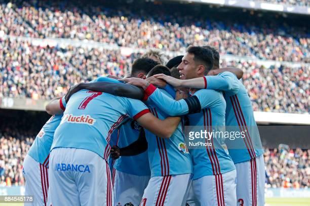 Iago Aspas goal celebration during the Copa del Rey match between FC Barcelona v Real Murcia CFi n Barcelona on November 29 2017 Photo Joan...