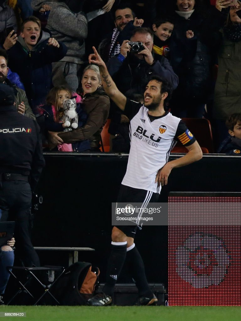 Iago Aspas of Celta de Vigo celebrates 2-1 during the Spanish Primera Division match between Valencia v Celta de Vigo at the Estadio de Mestalla on December 9, 2017 in Valencia Spain