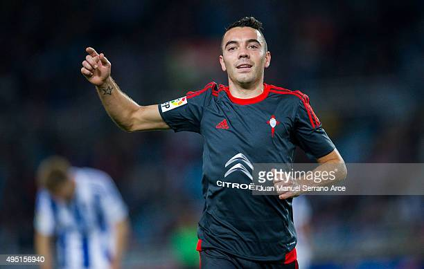 Iago Aspas of Celta de Vigo celebrates after scoring during the La Liga match between Real Sociedad de Futbol and Celta de Vigo de Futbol at Estadio...