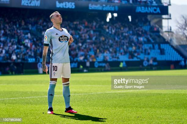 Iago Aspas of Celta de Vigo celebrates after scoring his team's first goal during the Liga match between RC Celta de Vigo and CD Leganes at Abanca...