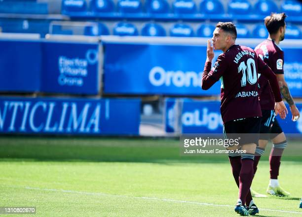 Iago Aspas of Celta de Vigo celebrates after scoring his team's second goal during the La Liga Santander match between Deportivo Alaves and RC Celta...
